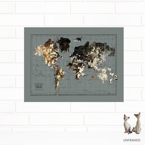 cat art world map unframed