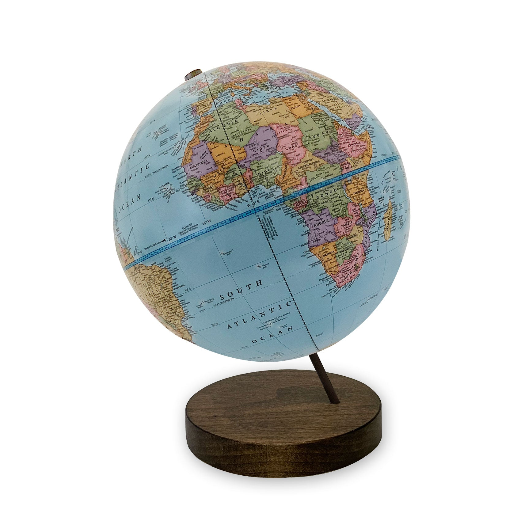 9 inch Blue Axis World Globe- dark walnut base