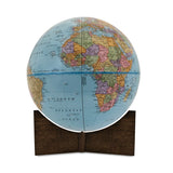 Small Blue Handheld World Globe-dark walnut base