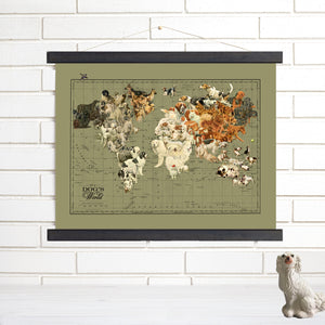 Dog's Life Map of the World Hanging Canvas Map Wall Art