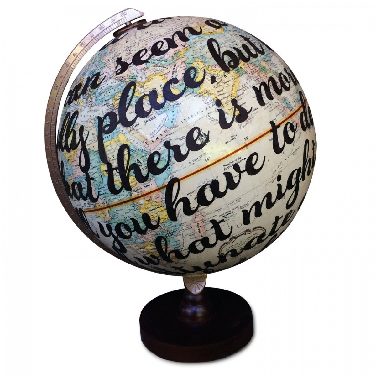 Custom Lyric, Poem or Vow Vintage Globe Art