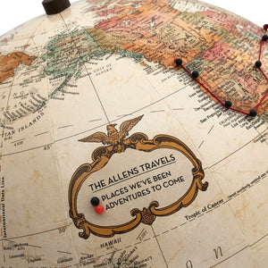 Push Pin Globe Personalized for Tracking Travels by Wendy Gold