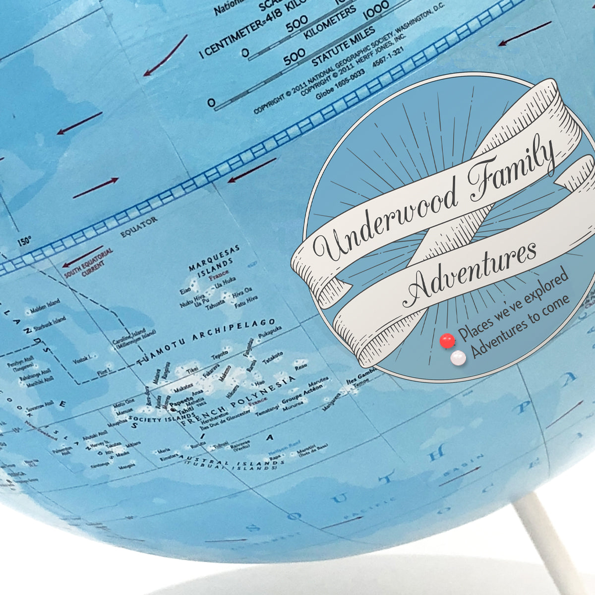 Push Pin Globe with Personalized Legend Blue