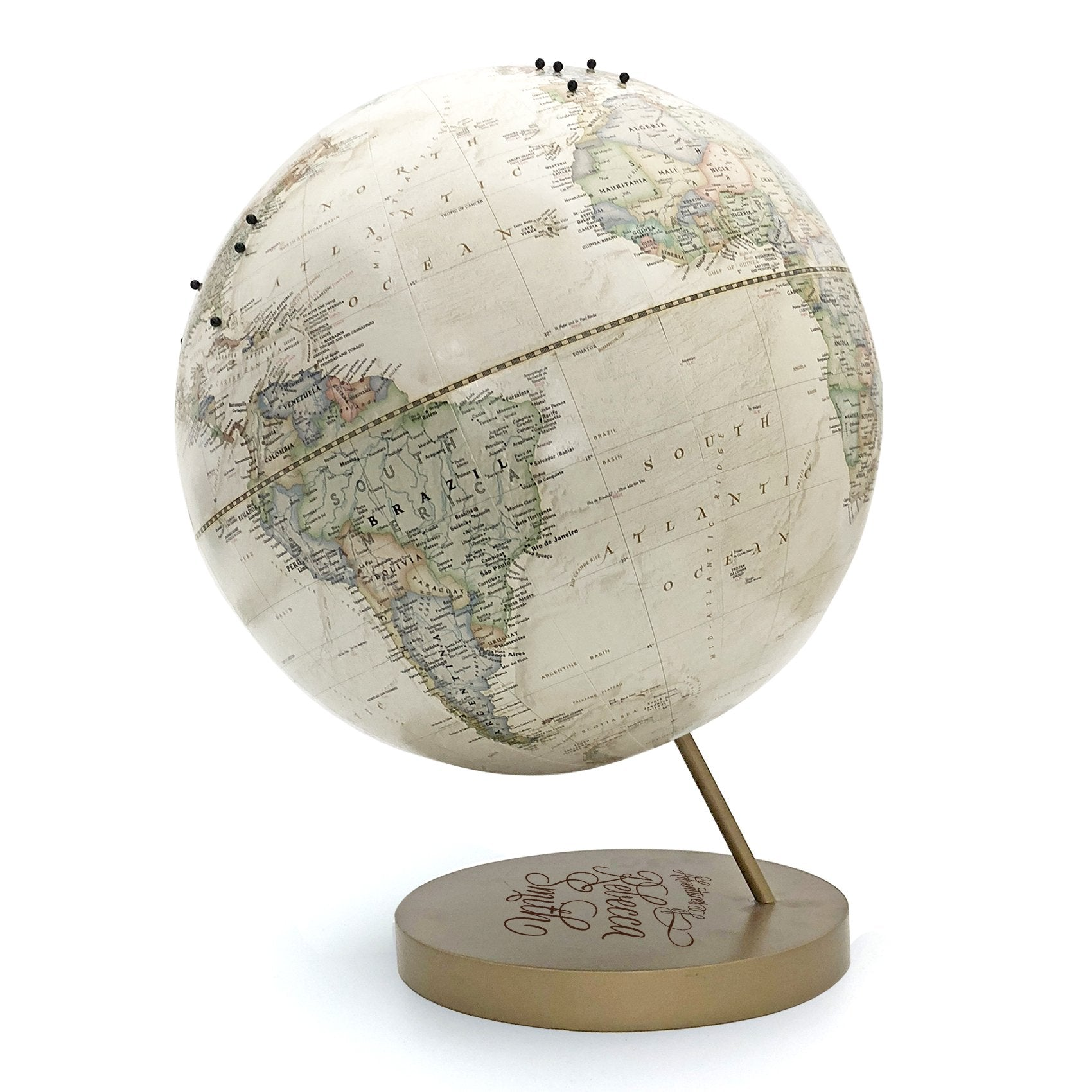 Personalized and Engraved Adventures Push Pin Globe by Wendy Gold