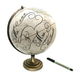 Wedding Guest Book Globe Mr. & Mrs. by Wendy Gold