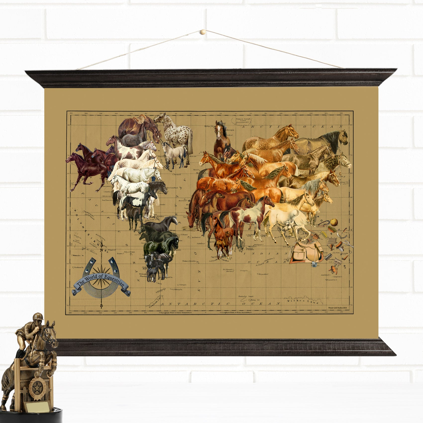World of Equestrian  & Horses Hanging Canvas Map Art