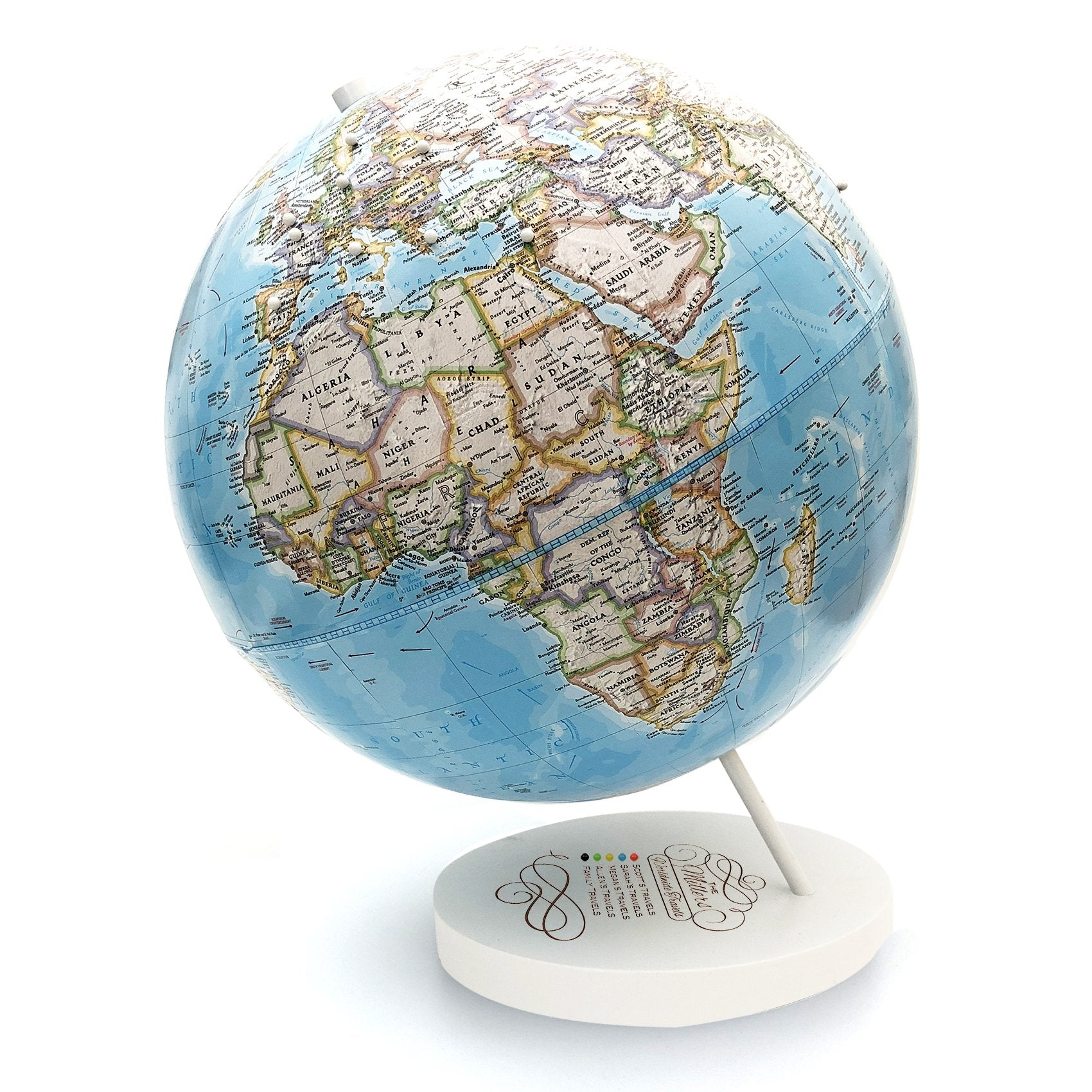 Family Travels Custom Engraved Push Pin Globe by Wendy Gold