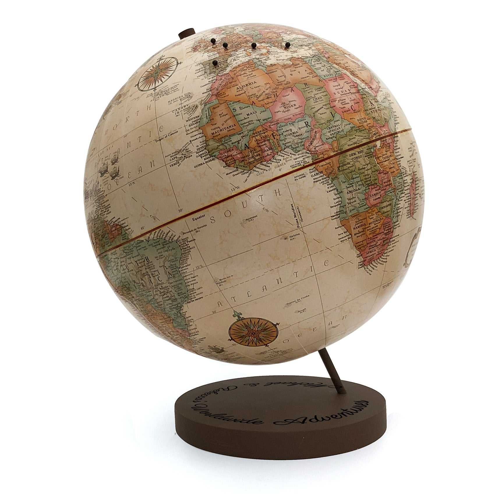 Custom Engraved Worldwide Adventures Push Pin Globe by Wendy Gold