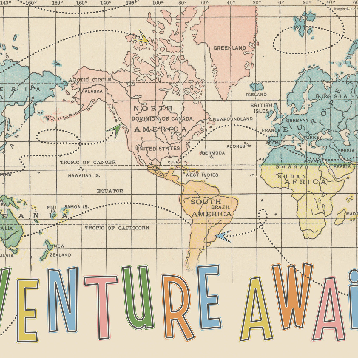 Adventure Awaits World Map Wall Art by Wendy Gold