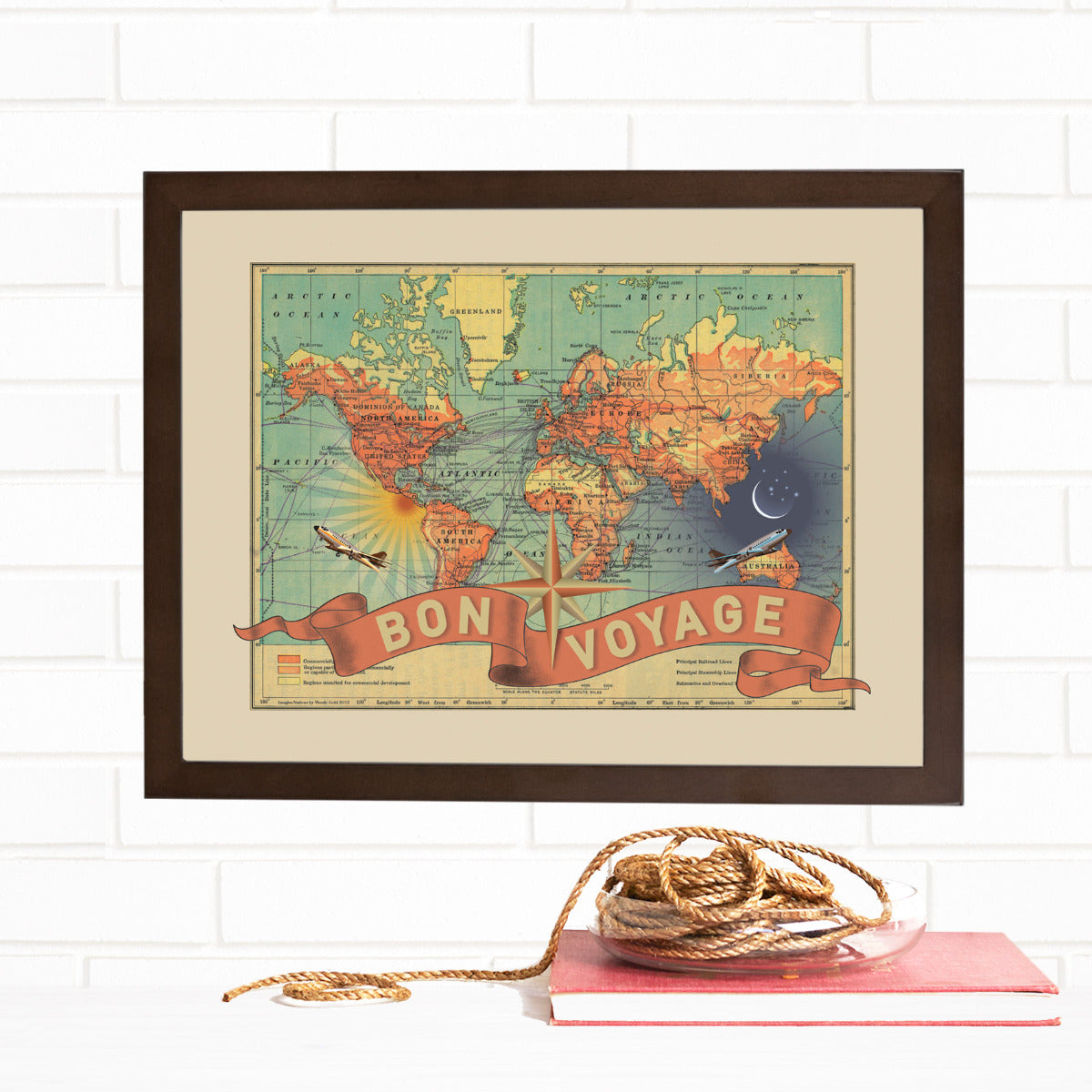 Bon Voyage Travel Map Wall Art by Wendy Gold