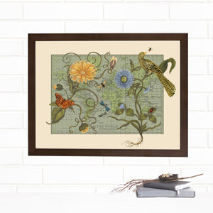 Vintage Map Wall Art Botanical Delights Lithograph