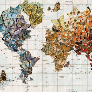 Butterfly Map of the World Lithograph