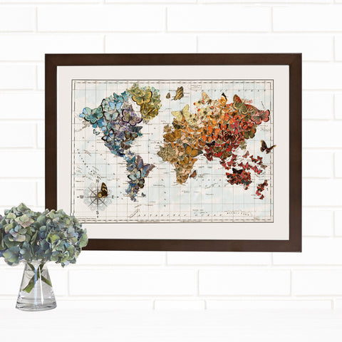 Butterfly Map of the World Fine Art Print