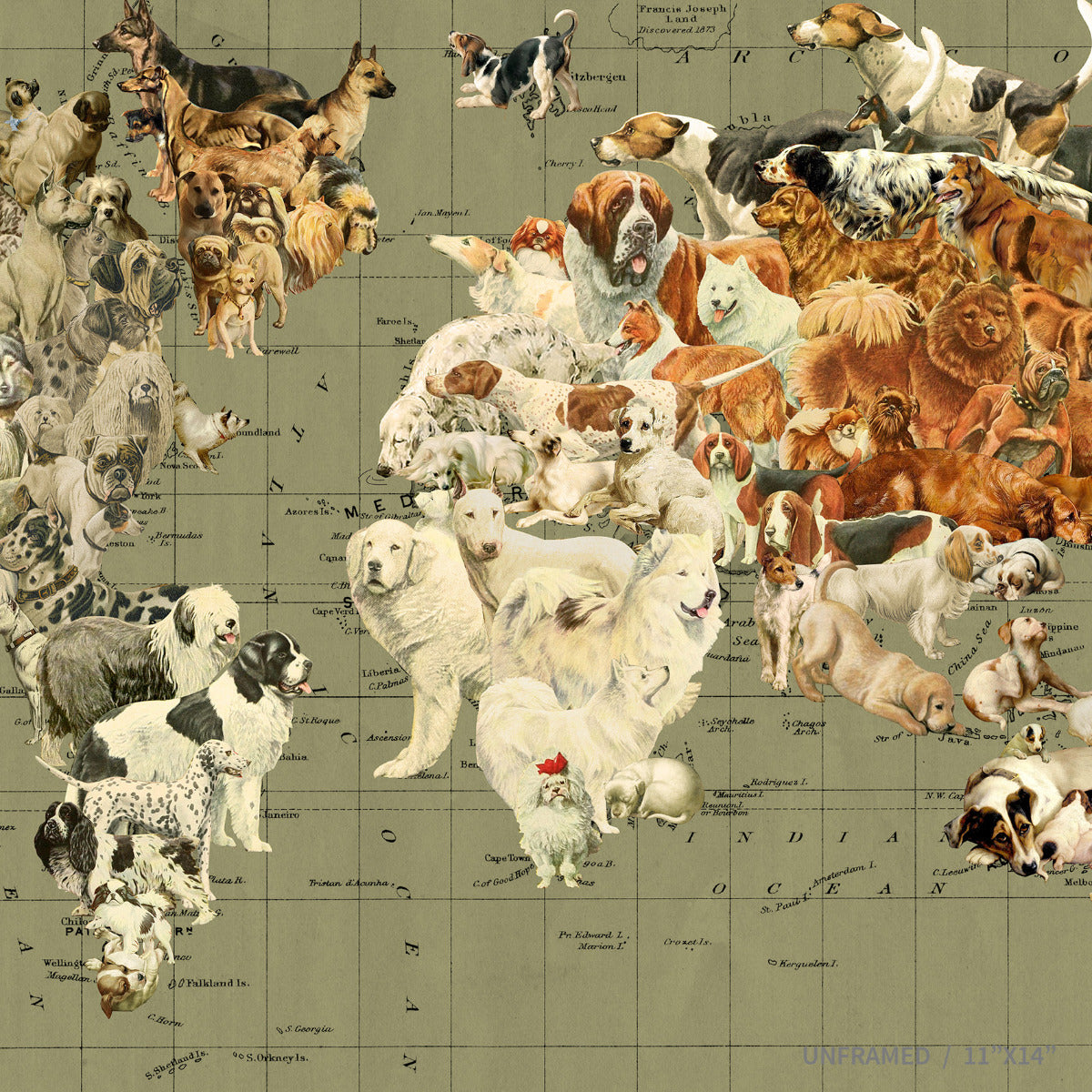 Dog's Life Map of the World by Wendy Gold