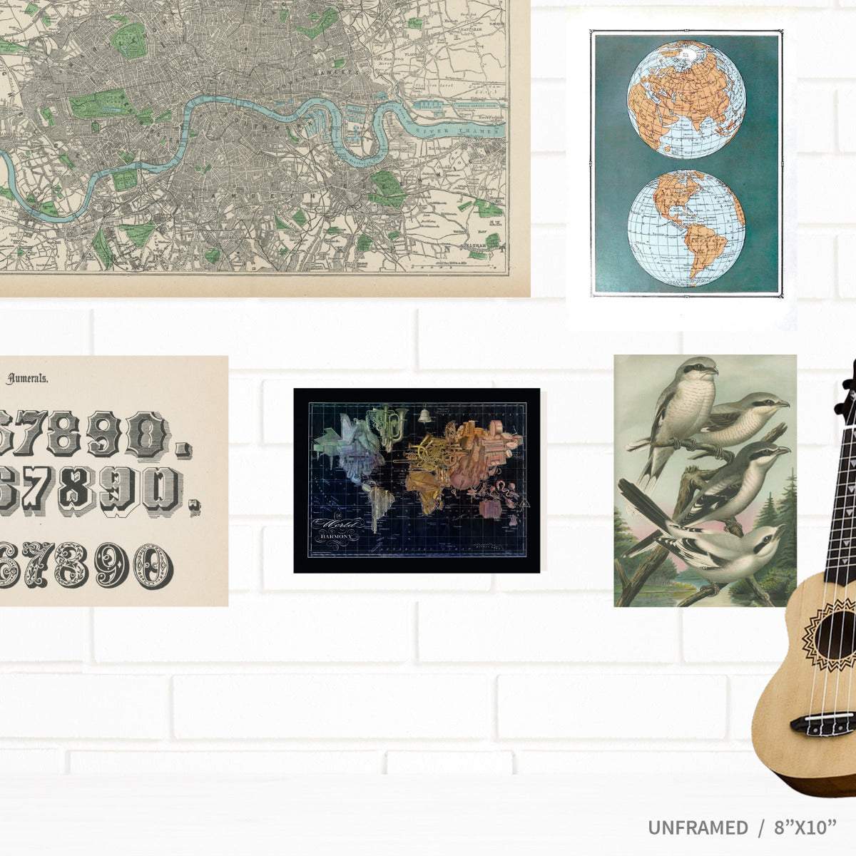 Music World Map Art Jazz Musical Instruments by Wendy Gold