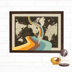Not all Who Wander are Lost World Map Art Lithograph