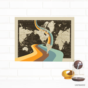 Not all Who Wander are Lost World Map Wall Art by Wendy Gold