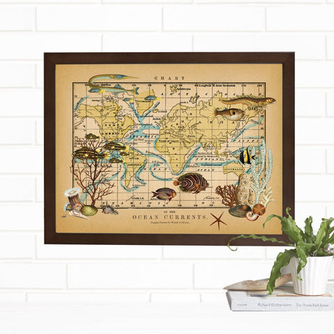 Ocean Currents Fine Map Wall Art Print