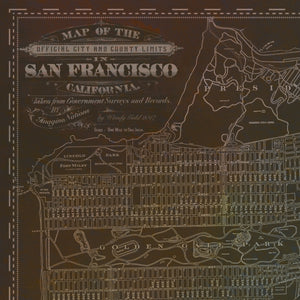 San Francisco Vintage Distressed Map Art by Wendy Gold