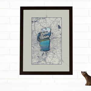 graphic relating to Printable Map of Lake Tahoe called Common Map Wall Artwork Lake Tahoe Print Changed Map Wendy Gold