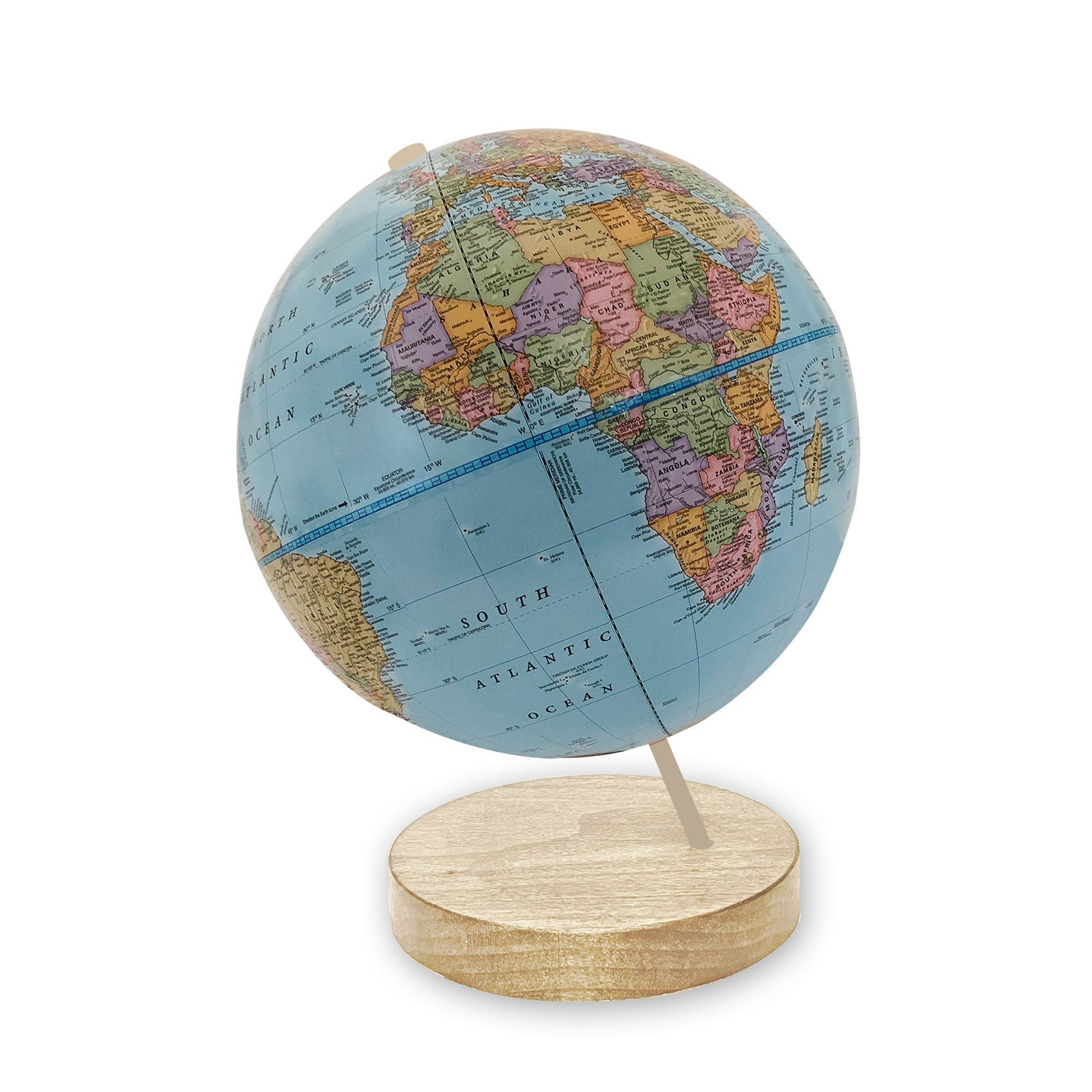 9 inch Blue Axis World Globe-maple base
