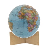 Small Blue Handheld World Globe-maple base