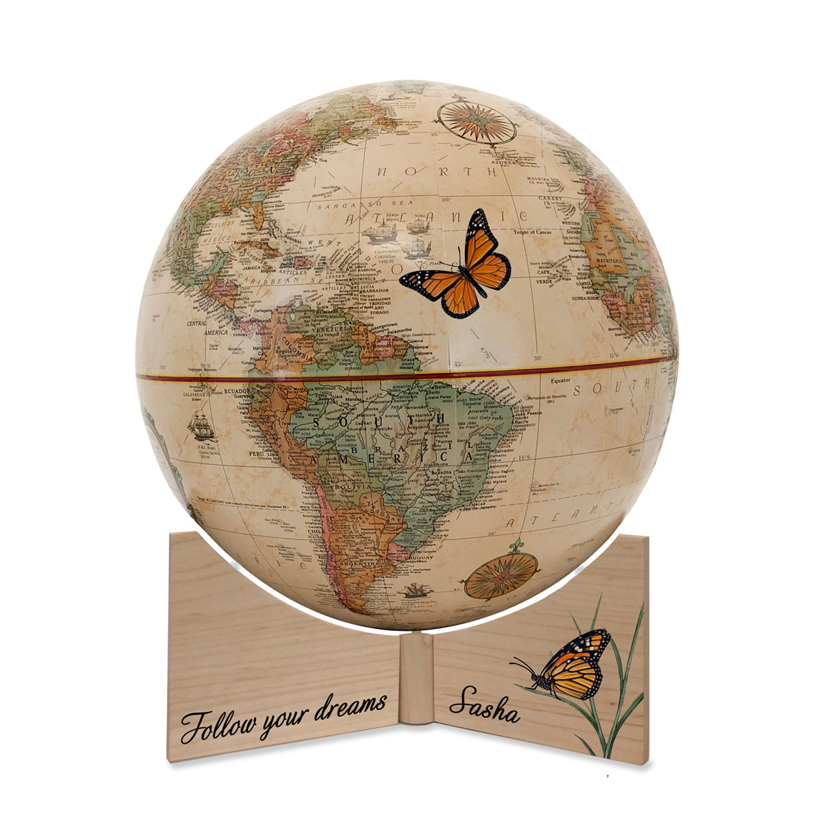 Personalized Butterfly Dreams Small Handheld Kids Globe