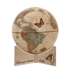 Personalized Butterfly Dreams Small Desktop Kids Globe