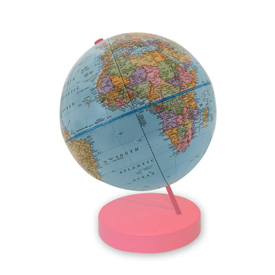 9 inch Blue Axis World Globe- pink base