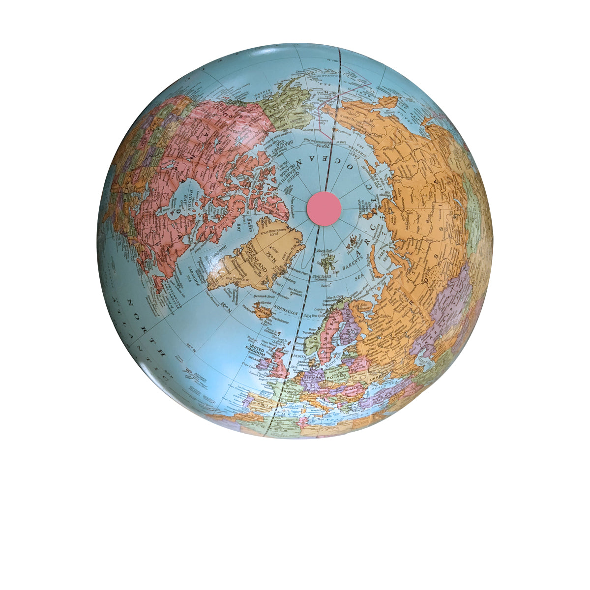 9 Inch Blue Classic Desk Globe with Handmade Pink Base
