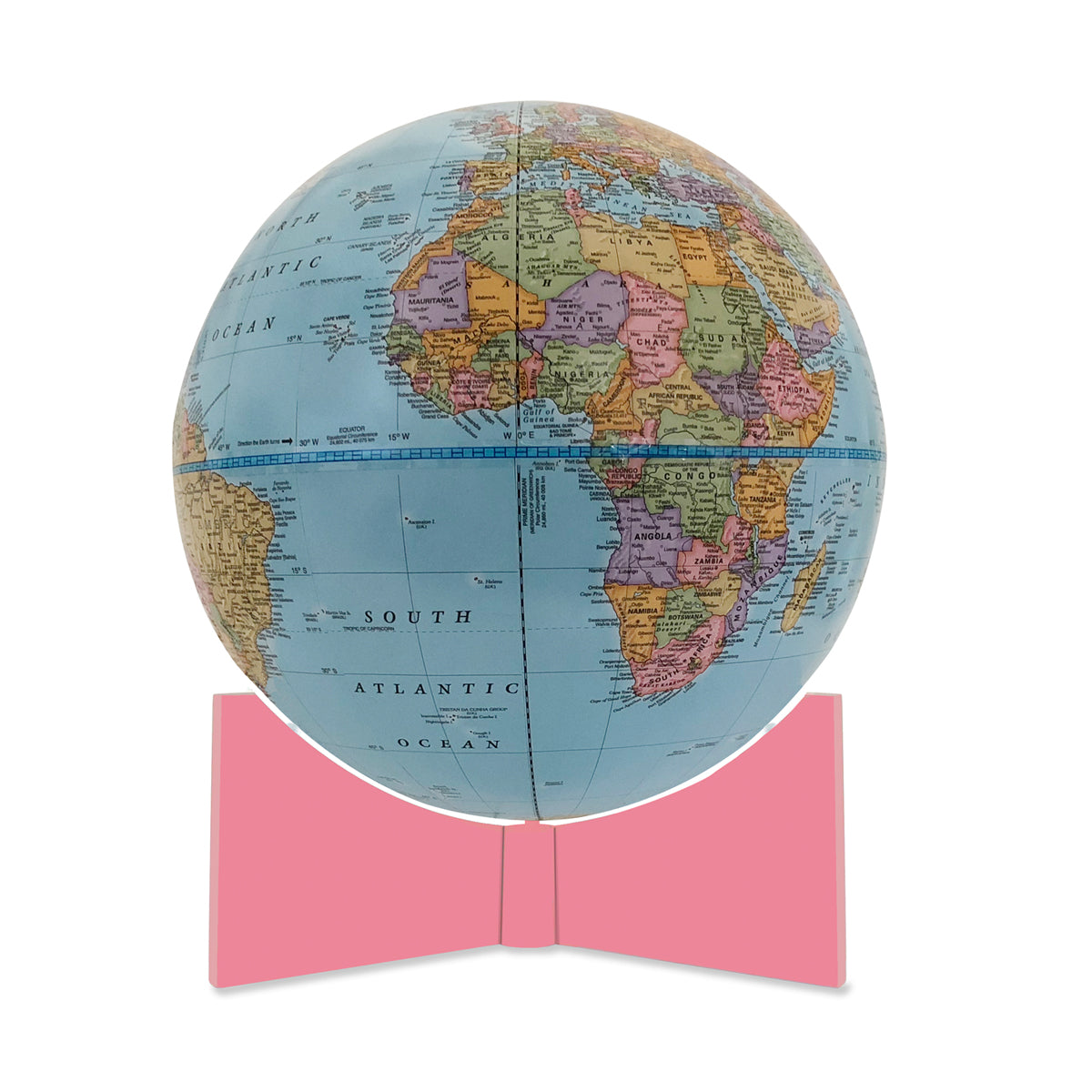 Small Blue Handheld World Globe-pink base
