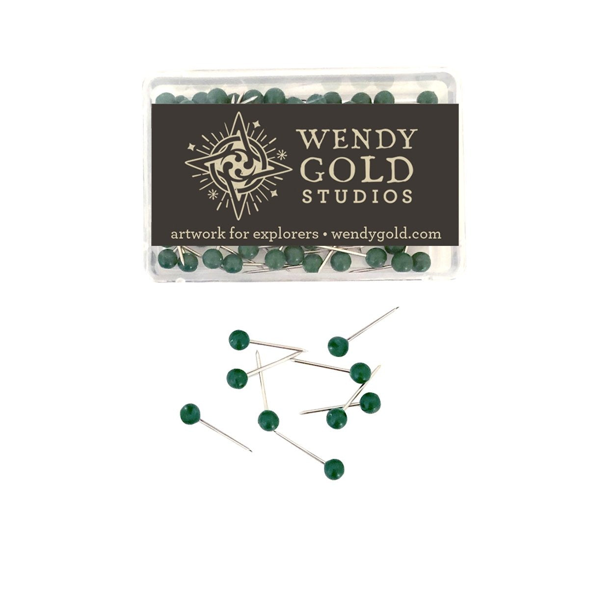Dark Green Globe Pins by Wendy Gold Studios