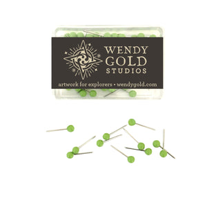 Lime Green Globe Pins by Wendy Gold Studios