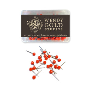 Red Map Pins by Wendy Gold Studios