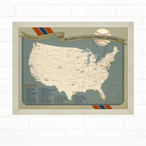 Baseball Team Colors Ballpark Push Pin Map by Wendy Gold