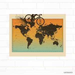 Mountain Biking World Pushpin Map by Wendy Gold