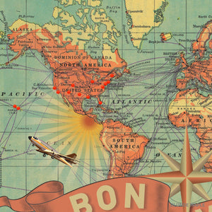 Push Pin World Map Bon Voyage by Wendy Gold