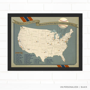 Baseball Team Colors Ballpark Push Pin Map
