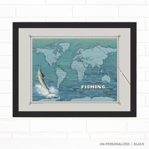 Ocean Reel Fishing Travel Map with Pins