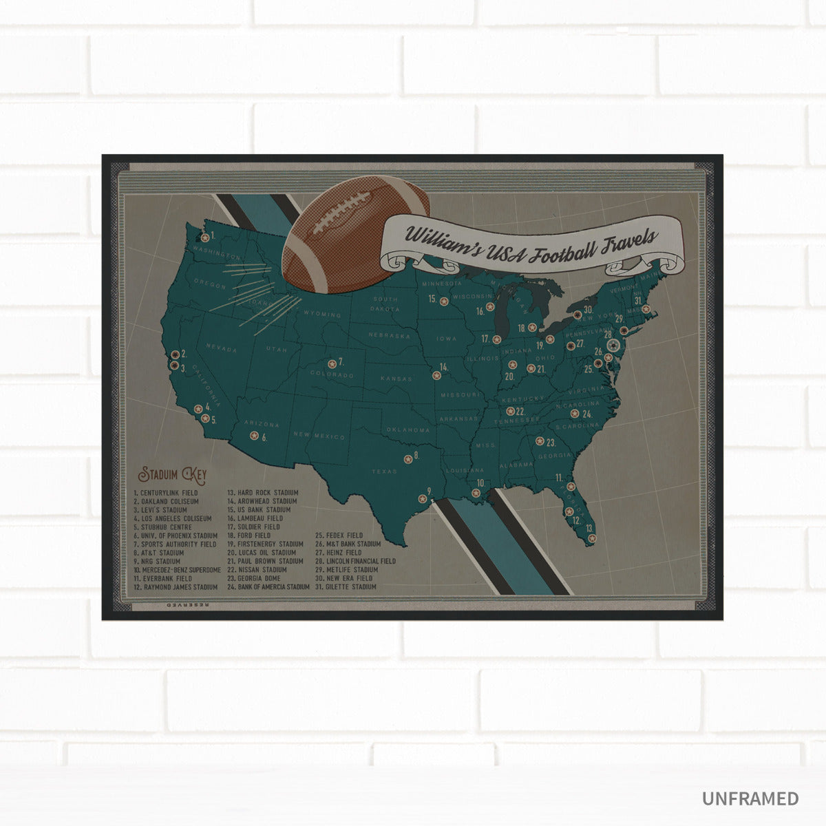 USA Football Team Colors Stadium Pin Map by Wendy Gold