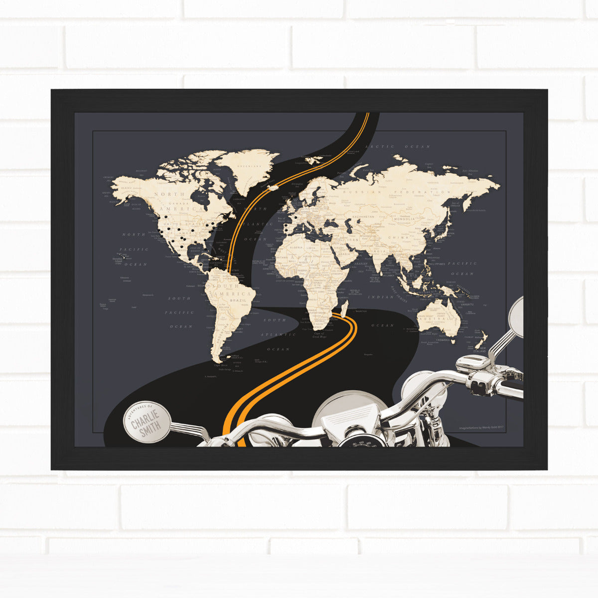 Motorcycle Adventures Pin Map Travel Map by Wendy Gold