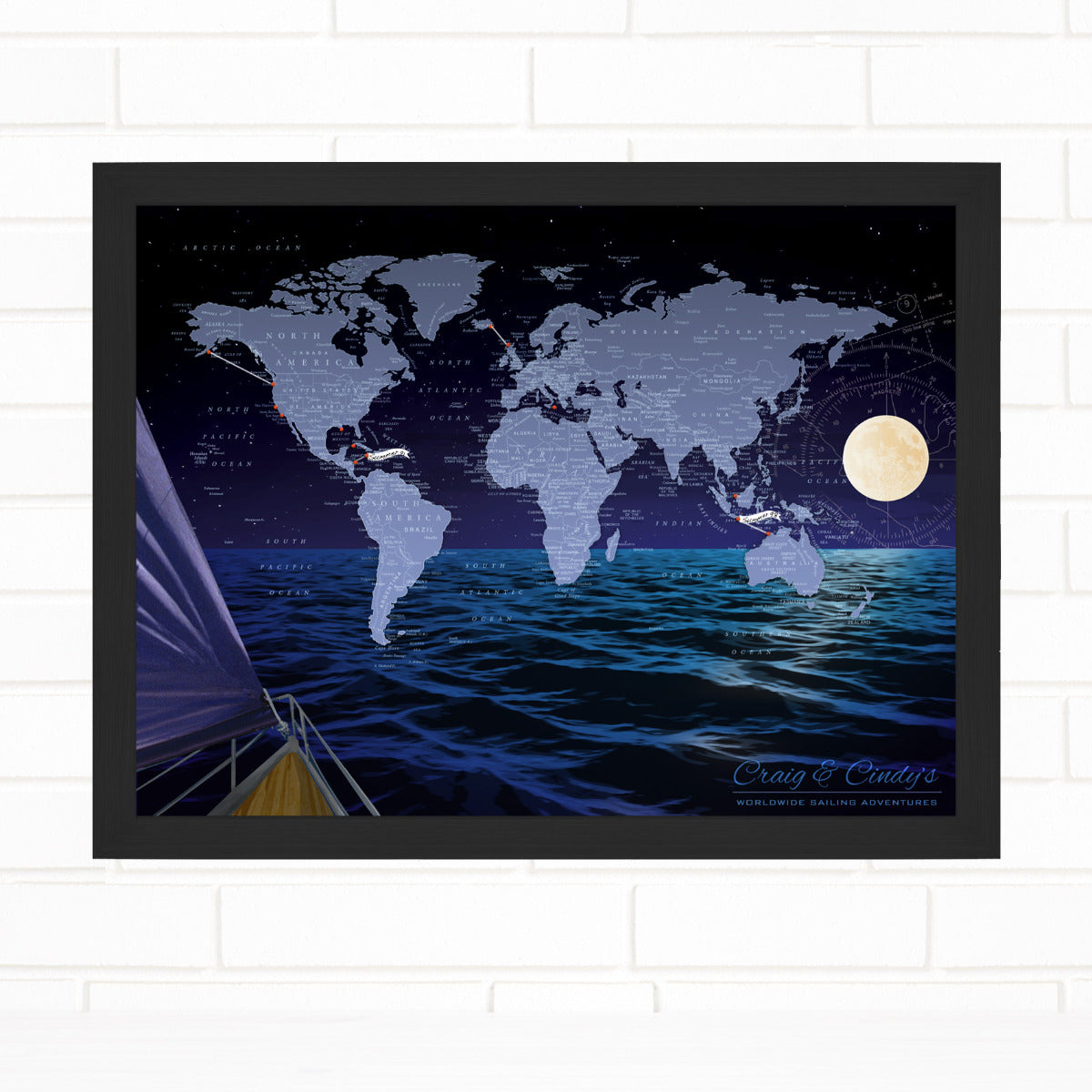 World Sailing Pushpin Map by Wendy Gold