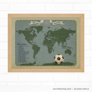 Soccer World Travel Map with Pins by Wendy Gold