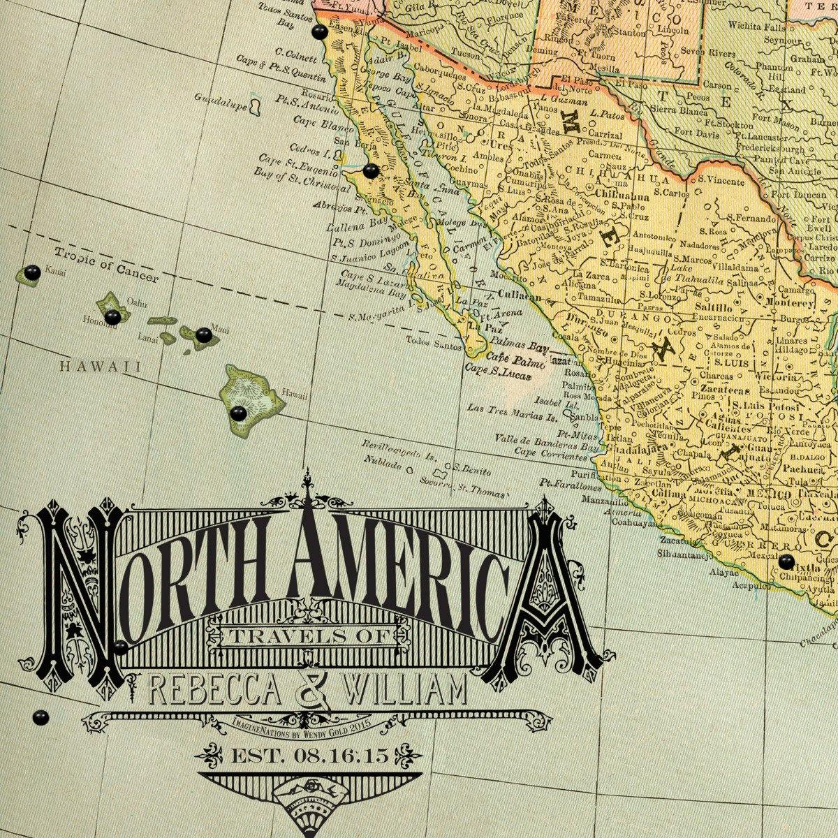 Vintage North America Pushpin Travel Map Blue  by Wendy Gold