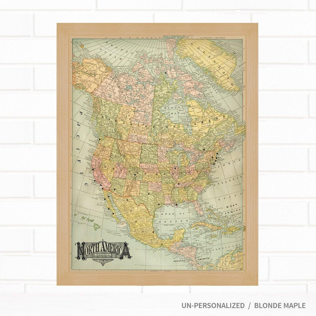 Map Of America Travel.Vintage North America Pushpin Map Blue