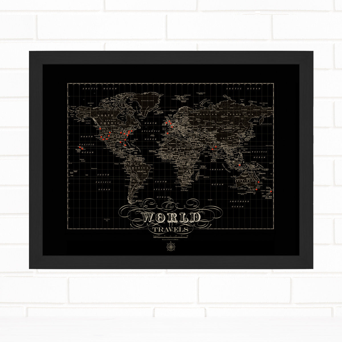 Vintage Black World Push Pin Map Quickship by Wendy Gold