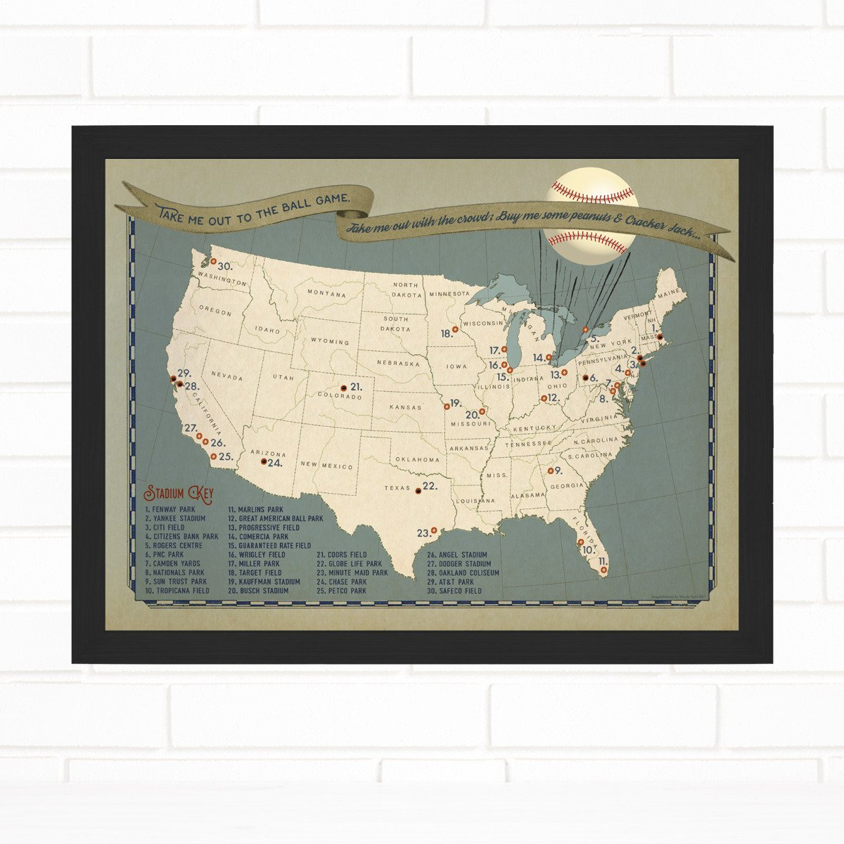 Baseball Ballpark Adventures Push Pin Map Quickship