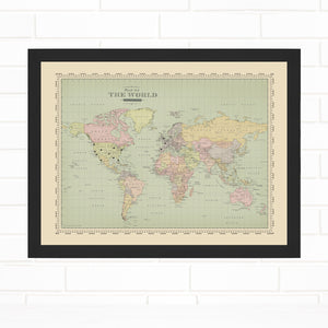 Vintage Map of the World Push Pin Map Quickship by Wendy Gold