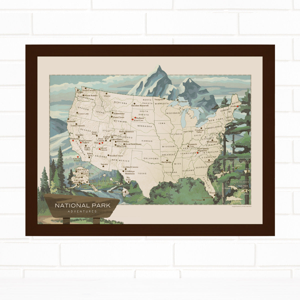 National Parks Push Pin Map Quickship by Wendy Gold