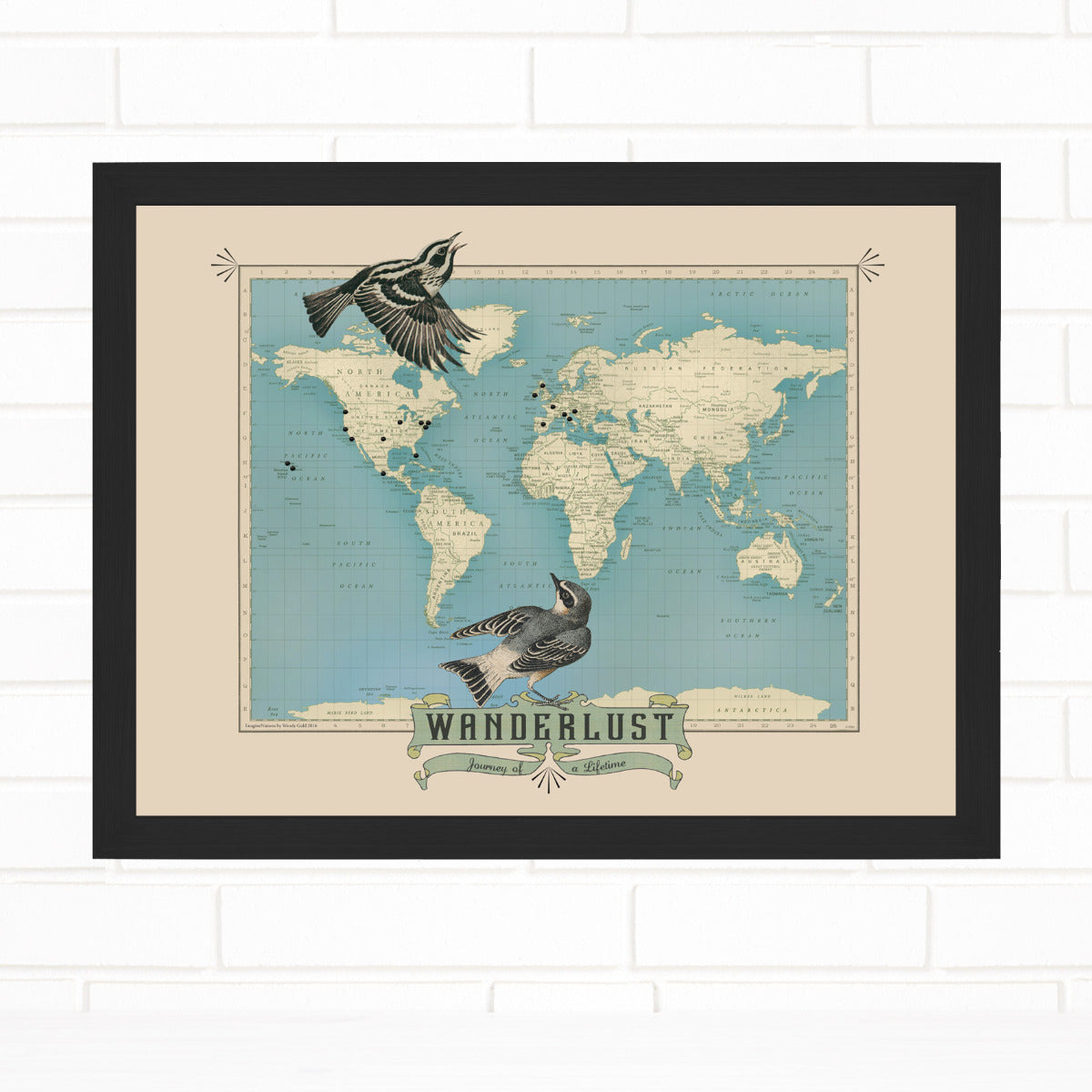 Wanderlust World Travel Pin Map Quickship by Wendy Gold